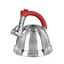 Mr. Coffee Collinsbroke 2.4qt Stainless Steel Tea Kettle with Red Handle